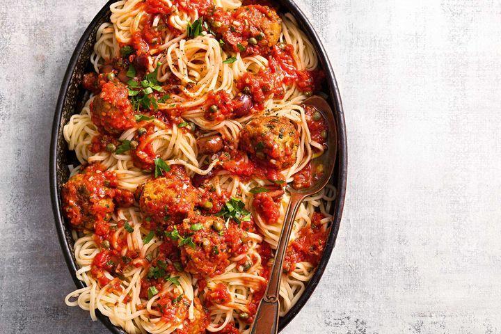 Canned Mackerel Recipes - Mackerel Ball Puttanesca with Spaghetti