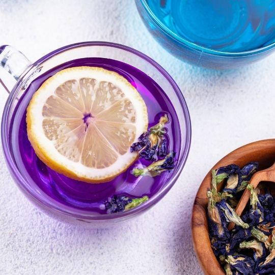 Purple Foods - purple pea flower tea